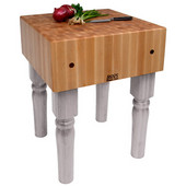 AB Block with 10'' Thick Hard Maple Top, Useful Gray Stain, Numerous Sizes Available