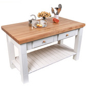 Grazzi Kitchen Island with Maple Top and Breakfast Bar, 60'' W x 28'' D x 35''H, Alabaster