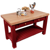 Grazzi Kitchen Island with Maple Top and Breakfast Bar, 60'' W x 28'' D x 35''H, Barn Red