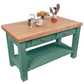 Grazzi Kitchen Island with Maple Top and Breakfast Bar, 60'' W x 28'' D x 35''H, Basil Green