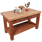 Grazzi Kitchen Island with Maple Top and Breakfast Bar, 60'' W x 28'' D x 35''H, Cherry Stain