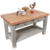 Grazzi Kitchen Island with Maple Top and Breakfast Bar, 60'' W x 28'' D x 35''H, Useful Gray Stain