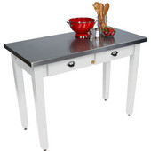 Cucina Milano Table with Stainless Steel Top, 60'' W x 36'' D x 30'' or 36''H, Alabaster