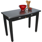 Cucina Milano Table with Stainless Steel Top, 60'' W x 36'' D x 30'' or 36''H, Black