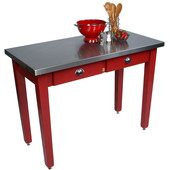 Cucina Milano Table with Stainless Steel Top, 60'' W x 36'' D x 30'' or 36''H, Barn Red