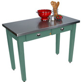 Cucina Milano Table with Stainless Steel Top, 60'' W x 30'' D x 30'' or 36''H, Basil