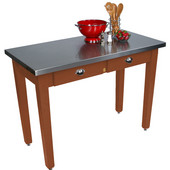 Cucina Milano Table with Stainless Steel Top, 60'' W x 30'' D x 30'' or 36''H, Cherry