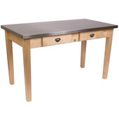 Cucina Milano Table with Stainless Steel Top, 60'' W x 36'' D x 30'' or 36''H, Natural