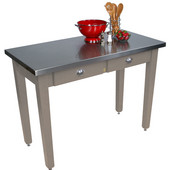 Cucina Milano Table with Stainless Steel Top, 60'' W x 30'' D x 30'' or 36''H, Useful Gray