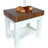 Kitchen Work Table Homestead Block with Alabaster Base, Walnut End Grain Top, 36'' W x 24'' D