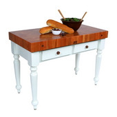 Rustica Kitchen Island with 4'' Thick Cherry End Grain Top, Alabaster, 48'' W, 2 Drawers