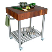 Cucina D'Amico Kitchen Cart with Stainless Steel Base, Walnut End Grain Butcher Block Top, and Casters, 30'' W x 24'' D x 35-1/2'' H