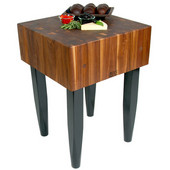 10'' Thick Solid Walnut End Grain Butcher Block with Black Painted Legs, Available in Different Sizes