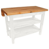 Kitchen Island Bar Work Table, Alabaster, 48'' W x 24'' D (32'' D with Drop-Leaf Up) x 35''H