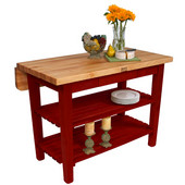 Kitchen Island Bar Work Table, Barn Red Base, 48'' W x 24'' D (32'' D with Drop-Leaf Up) x 35''H