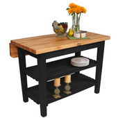 Kitchen Island Bar Work Table, Black, 48'' W x 30'' D (38'' D with Drop-Leaf Up) x 35''H