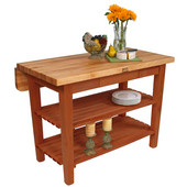 Kitchen Island Bar Work Table, Warm Cherry Stain, 48'' W x 30'' D (38'' D with Drop-Leaf Up) x 35''H