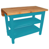 Kitchen Island Bar Work Table, Caribbean Blue, 60'' W x 30'' D (38'' D with Drop-Leaf Up) x 35''H