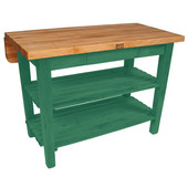 Kitchen Island Bar Work Table, Clover Green, 60'' W x 30'' D (38'' D with Drop-Leaf Up) x 35''H
