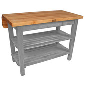 Kitchen Island Bar Work Table, Slate Gray, 48'' W x 24'' D (32'' D with Drop-Leaf Up) x 35''H