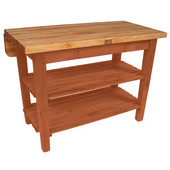 Kitchen Island Bar Work Table, Spicy Latte, 60'' W x 24'' D (32'' D with Drop-Leaf Up) x 35''H