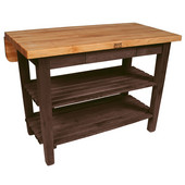 Kitchen Island Bar Work Table, Walnut Stain, 60'' W x 24'' D (32'' D with Drop-Leaf Up) x 35''H