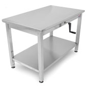 Ergonomic Adjustable Hydraulic LIFT Work Table 48'' W x 30'' D, 16-Gauge Stainless Steel Flat Top with Casters and Undershelf