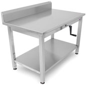 Ergonomic Adjustable Hydraulic LIFT Work Table 60'' W x 30'' D, 16-Gauge Stainless Steel Flat Top with 5'' Riser with Undershelf