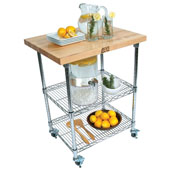 Metropolitan Wire Cart with 1-1/2'' Thick Blended Maple Top, Chrome Shelves and Locking Casters, 27''W x 21''D x 36''H