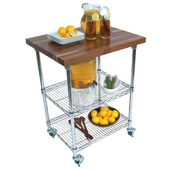 Metropolitan Wire Cart with 1-1/2'' Thick Blended Walnut Top, Chrome Shelves and Locking Casters, 33'' W x 27'' D x 36'' H
