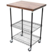 Metropolitan Wire Cart with 1-1/2'' Thick Blended Walnut Top, Black Shelves and Locking Casters, 27'' W x 21'' D x 36'' H