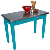 Cucina Milano Table with Stainless Steel Top, 60'' W x 36'' D x 30'' or 36''H, Caribbean Blue