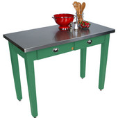 Cucina Milano Table with Stainless Steel Top, 60'' W x 36'' D x 30'' or 36''H, Clover Green