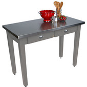 Cucina Milano Table with Stainless Steel Top, 60'' W x 36'' D x 30'' or 36''H, Slate Gray