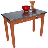Cucina Milano Table with Stainless Steel Top, 60'' W x 36'' D x 30'' or 36''H, Spicy Latte