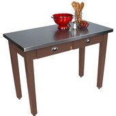 Cucina Milano Table with Stainless Steel Top, 60'' W x 36'' D x 30'' or 36''H, Walnut Stain
