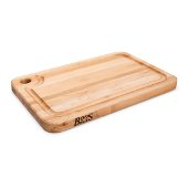 Prestige Board Cutting Board, Northern Hard Rock Maple, Edge Grain, 18'' W x 14'' D x 1-1/4'' Thick, Juice Groove (One Side), Reversible w/ Thumb Hole, Boos Block Cream Finish w/ Beeswax