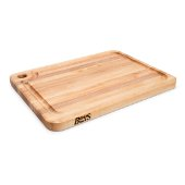 Prestige Board Cutting Board, Northern Hard Rock Maple, Edge Grain, 22'' W x 16'' D x 1-1/4'' Thick, Juice Groove (One Side), Reversible w/ Thumb Hole, Boos Block Cream Finish w/ Beeswax