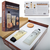 Care & Maintenance Kit - P.O.P. box design includes (1) Applicator, (1) Mystery Oil Bottle and (1) Board Cream Tube securely placed in a custom die cut insert tray