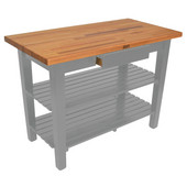 Oak Table Boos Block, 48'' W x 25'', 30'', or 36'' D x 35''H, With 2 Shelves, Slate Gray