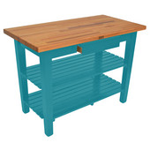 Oak Table Boos Block, 60'' W x 25'', 30'', or 36'' D x 35''H, With 2 Shelves, Caribbean Blue
