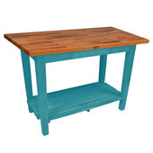 Oak Table Boos Block, 60'' W x 25'', 30'', or 36'' D x 35''H, With 1 Shelf, Caribbean Blue