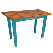 Oak Table Boos Block, 36'' W x 25'' D x 35''H, Caribbean Blue