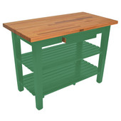 Oak Table Boos Block, 48'' W x 25'' D x 35''H, with Drawer and 2 Shelves, Clover Green