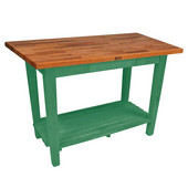 Oak Table Boos Block, 60'' W x 25'', 30'', or 36'' D x 35''H, With 1 Shelf, Clover Green
