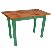 Oak Table Boos Block, 36'' W x 25'' D x 35''H, Clover Green