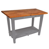 Oak Table Boos Block, 60'' W x 25'', 30'', or 36'' D x 35''H, With 1 Shelf, Slate Gray