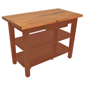 Oak Table Boos Block, 48'' W x 25'' D x 35''H, with Drawer and 2 Shelves, Spicy Latte