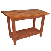 Oak Table Boos Block, 60'' W x 25'', 30'', or 36'' D x 35''H, With 1 Shelf, Spicy Latte