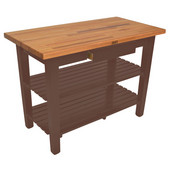 Oak Table Boos Block, 48'' W x 25'' D x 35''H, with Drawer and 2 Shelves, Walnut Stain